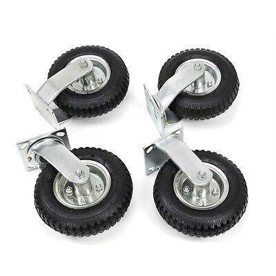 4 Pcs 8 Air Tire Pneumatic 2 Rigid Wheels 2 Swivel Casters Cart Farm Caster