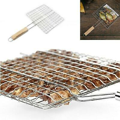 BBQ Net Barbecue Grilling Basket Mesh Steak Fish Meat Vegetable Tool Wood Handle