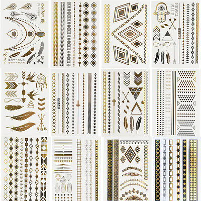 12 Sheets Temporary Disposable Metallic Tattoo Gold Silver Black Flash Tattoos
