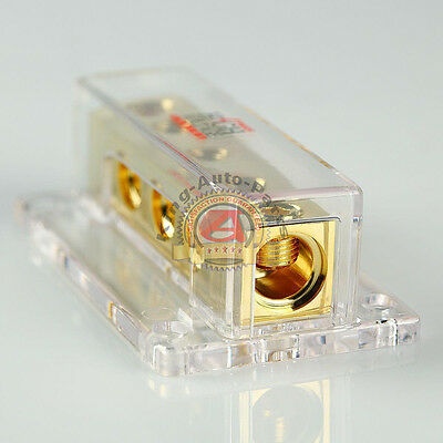 Gold Plated Power Ground Distribution Bar Block 0 2 Gauge Input To 4 Ga Output ()