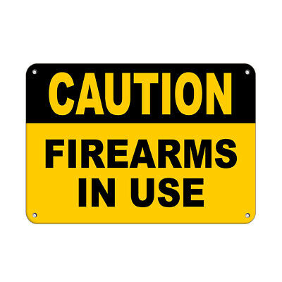 Horizontal Metal Sign Multiple Sizes Caution Firearms In Use Security
