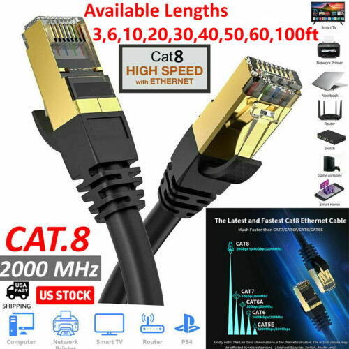 Lot Cat 8 Ethernet RJ45 Cable Super Speed 40Gbps Patch LAN Network Gold Plated