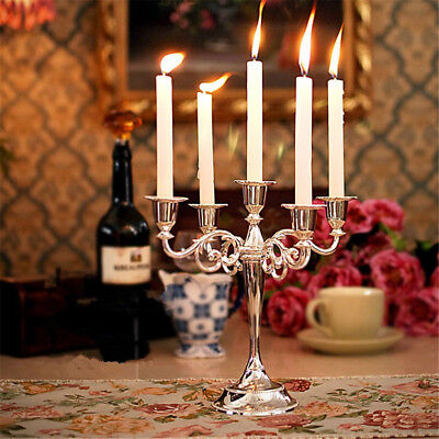 5 Arms Alloy Candle Metal Crafts Candelabra Holder Stand Wedding Home Decor US