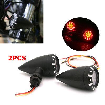 2PCS 3 IN 1 Motorcycle Bullet LED Brake Turn Signal Light Running Indicator Lamp