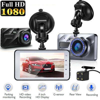 "Dual Lens 4"" Car Dashboard Dash Cam DVR 1080P Video Recorder Camera Night Vision"