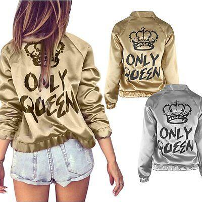 Fashion Womens Long Sleeve Crown Casual Blazer Suit Zipper Jacket Coat Outwear