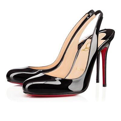 100% AUTHENTIC NEW WOMEN LOUBOUTIN FIFI 85 PATENT BLACK SLING HEELS/PUMPS US 6.5