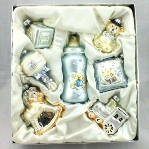Vtg Babys First Christmas 7pc Blown Glass Ornaments Set Blue Boy NIB Shower Xmas