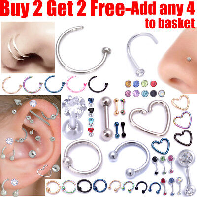 16G Surgical Steel Labret Lip Ring Tragus Helix Earring Stud Piercing