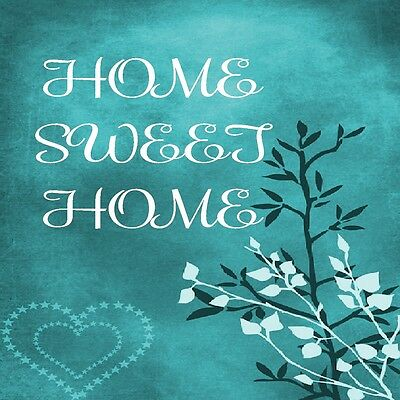 HOME SWEET HOME HEARTS AND LEAVES TEAL  COASTERS SET OF 4 RUBBER BACKED  (Teal Coasters)