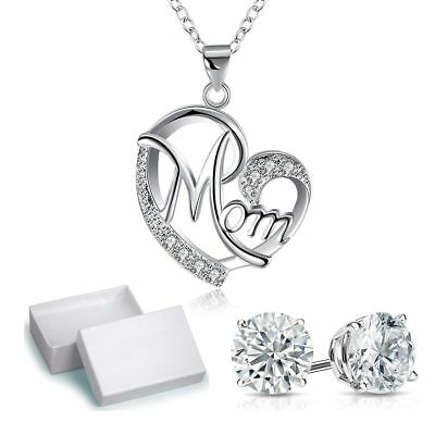Mothers Day Present Crystal Mom Pendant Necklace Women Jewelry Birthday Gifts