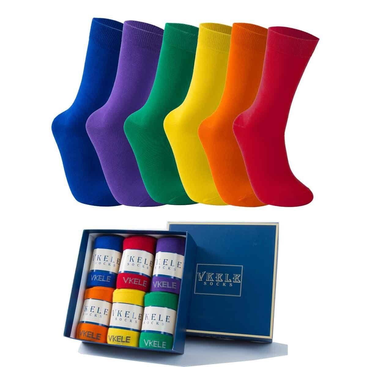 Vkele Crew Socken bunte Herrensocken Business Strümpfe einfarbig 1-6 Paar 39-46