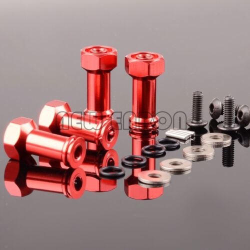 4P RED Aluminum 12MM Hex Drive 24MM Extension Adapter FOR 1:16 RC Traxxas Slash