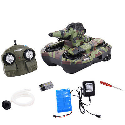 2.4G RC Battle Tank 4WD Amphibious Remote Control Lauch Water Christmas Gift New
