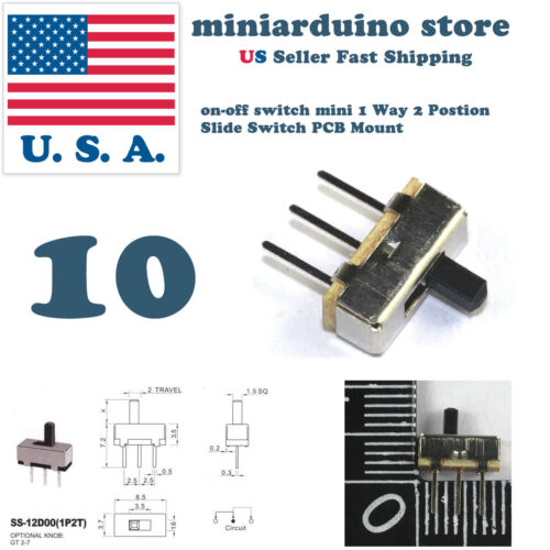 10pcs on-off switch mini 1 Way 2 Postion Slide Switch PCB Mount Electronics