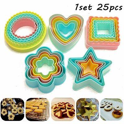 25Pcs Fondant Cake Cookie Sugarcraft Cutter Decorating Mold Set Kitchen Supplies ()