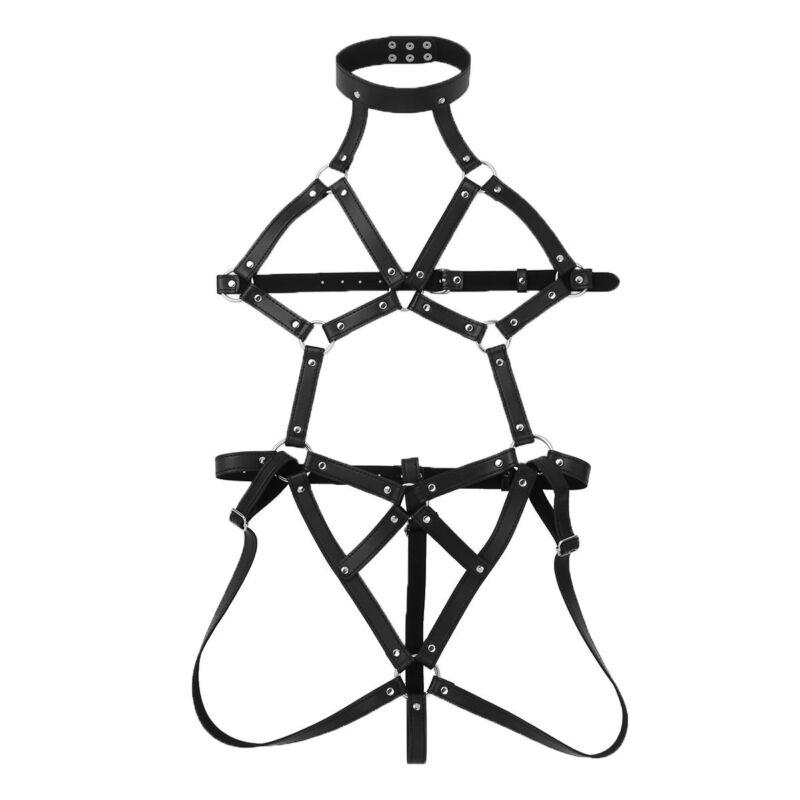Womens Sexy Teddy Bodysuit Body Caged Harness Belt Shiny Pu Thong