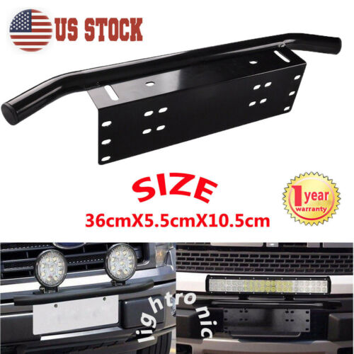 Tuneway 1Pcs Front Bumper License Plate Mounting Bracket for Truck Off-Road SUV 4X4 4WD LED Lights License Plate Mount Bracket Holder for LED Light Bar,LED Work Lights Universal Base
