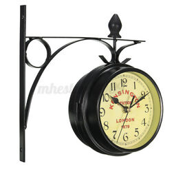 Vintage Retro Double Sided Wall Clock Home Office Hanging Decor Gift Outdoor