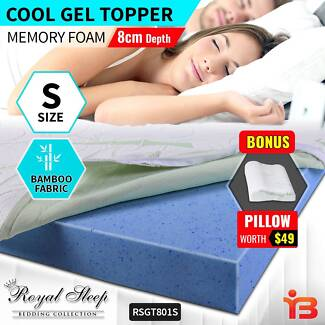Cool Gel Mattress Topper Bamboo Fabric Cover with Pillow - S Size