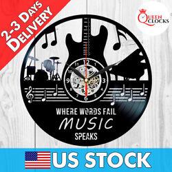 Music Wall Decor Notes Rock Guitar Musician LP Art Vinyl Record Clock Best Gifts