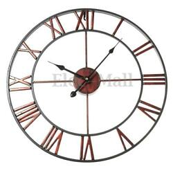 Classic Large Metal Wrought Iron Wall Clock Roman Numerals Steampunk Home Decor