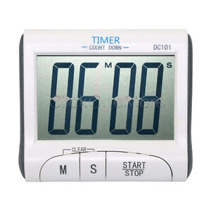 Magnetic LCD Digital Kitchen Timer Count Down Egg Cooking Alarm + Clock White