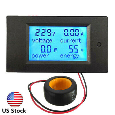 Us 100a Ac Digital Led Power Panel Meter Monitor Power Energy Voltmeter Ammeter
