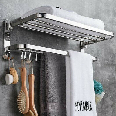 304 Stainless Steel Foldable Towel Rack Bar Wall Mounted Holder Bathroom Shelf (Stainless Steel Towel Shelf)