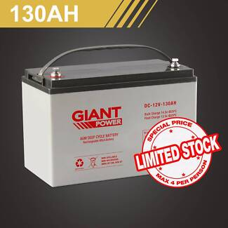 Giant Power 12V 130AH AGM Deep Cycle Battery with Box North Wollongong Wollongong Area Preview