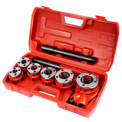 New Ratchet Ratcheting Pipe Threader Kit Set W 6 Dies And Storage Case