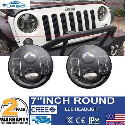 """7"""" Round 80W LED Projector Hi/L DRL HID Headlights for Jeep Wrangler JK TJ LJ CJ"""