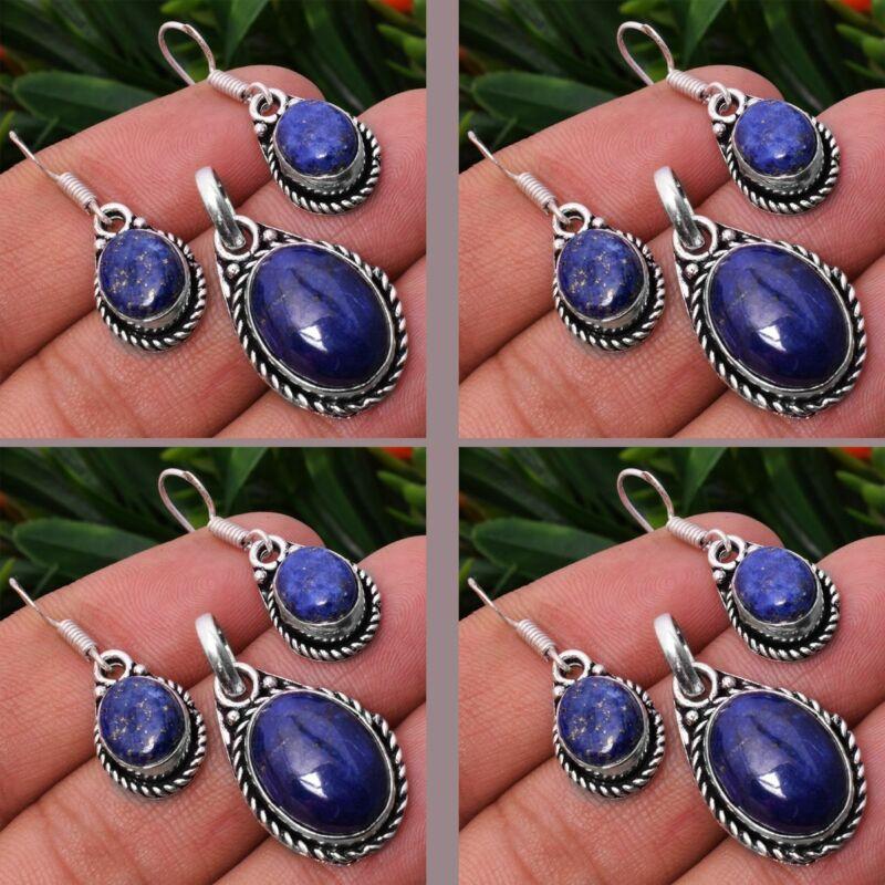 Lapis Lazuli 2pcs 925 Sterling Silver Plated Pendant Earring Sets Jewelry