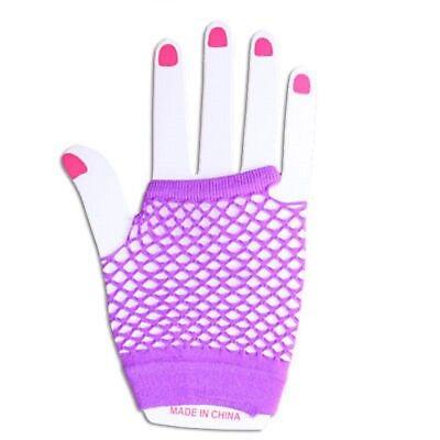 Neon Farben Shorts Fischnetz Kostüm Fingerlose Handschuhe Lila - Neonfarbene Kostüme