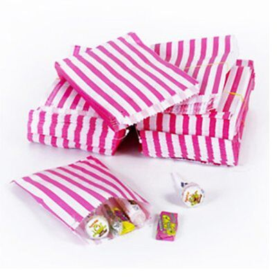 200 x The Paper Bag Candy Stripe Paper Bags, 5 x 7 Inches - Pink / STRONG BAGS