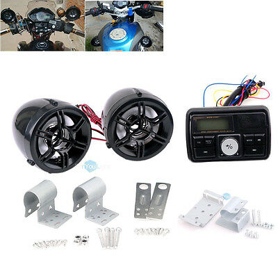 Motorcycle Handlebar Audio System USB SD FM Radio Bluetooth Stereo MP3 Speakers