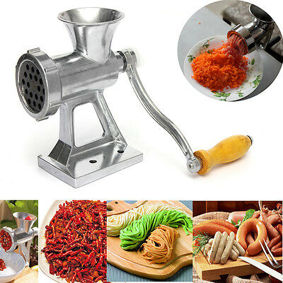 Heavy Duty Hand Operated Meat Grinder Beef Noodle Pasta Sausages Maker Alloy