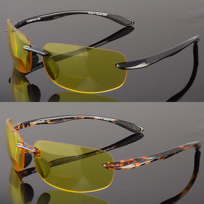 Bifocal glasses yellow tint night vision riding driving sports indoor (Yellow Tinted Reading Glasses)