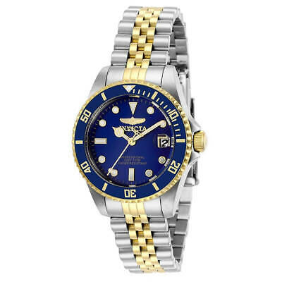 Invicta Women's Watch Pro Diver Quartz Blue Dial Two Tone Steel Bracelet 29188