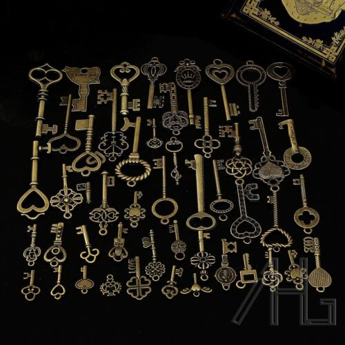 43pcs XMAS Alloy Antique Old Look Key Charms Jewellery Pendant Handmade DIY Keys