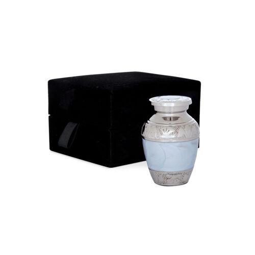 Cremation urn - pale blue/nickel solid brass keepsake & velvet box