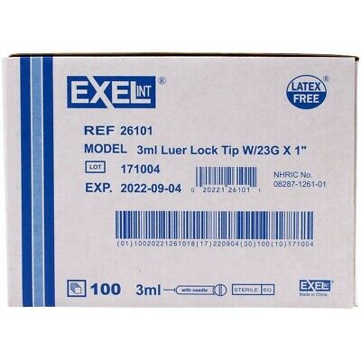 Brand New Exel Luer-lock Syr 3ml 3cc 23g X 1in Pack Of 20 26101