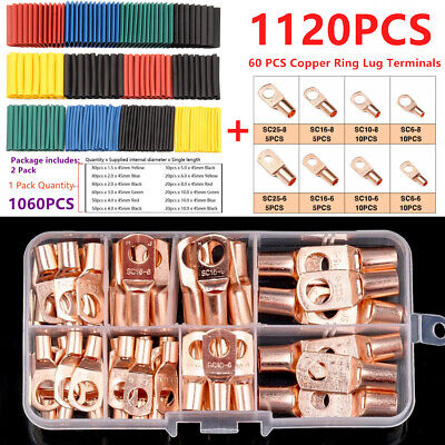 1120PCS Copper Wire Ring Lug Terminal Connectors + Insulation Heat Shrink Tubing Copper Wire Insulation
