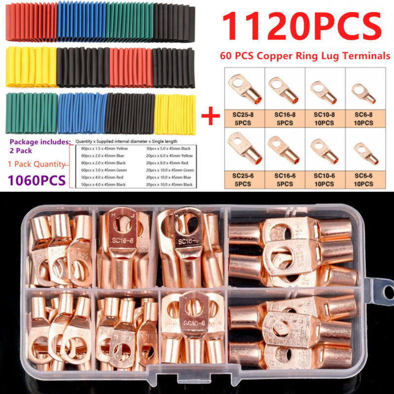 1120PCS Copper Wire Ring Lug Terminal Connectors + Insulation Heat Shrink Tubing