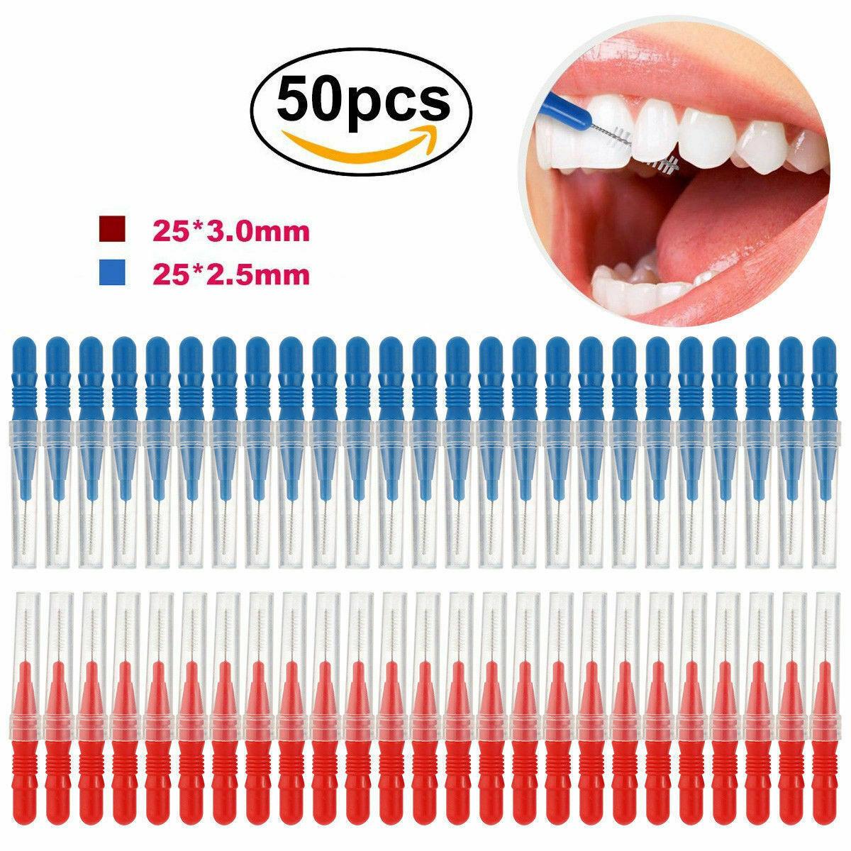 50x Interdental-Bürsten Größe Draht-Ø 2.5mm/3mm für Zahnzwischenraum-Reinigung