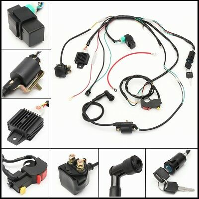 50 70 90cc 110cc 125cc Wiring Harness Loom Solenoid Coil CDI Quad Dirt Bike ATV for sale  Shipping to United States