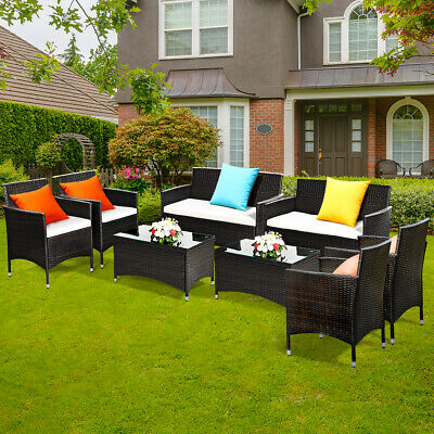 Garden Furniture - 8 PCS Patio Garden Rattan Furniture Set Coffee Table Cushioned Sofa Brown