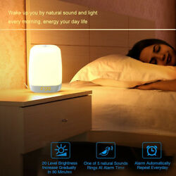 LED Natural Wake Up Light Sunrise Simulation Alarm Clock Battery Lamp Xmas Gift
