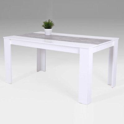 Esstisch Lilo Tisch Esszimmertisch Küchentisch in Weiß Beton 140x80 cm