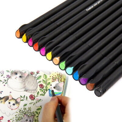 24 Color Marker 0.4mm Fineliner Fine Line Sketch Writing Point Pen Drawing Diary